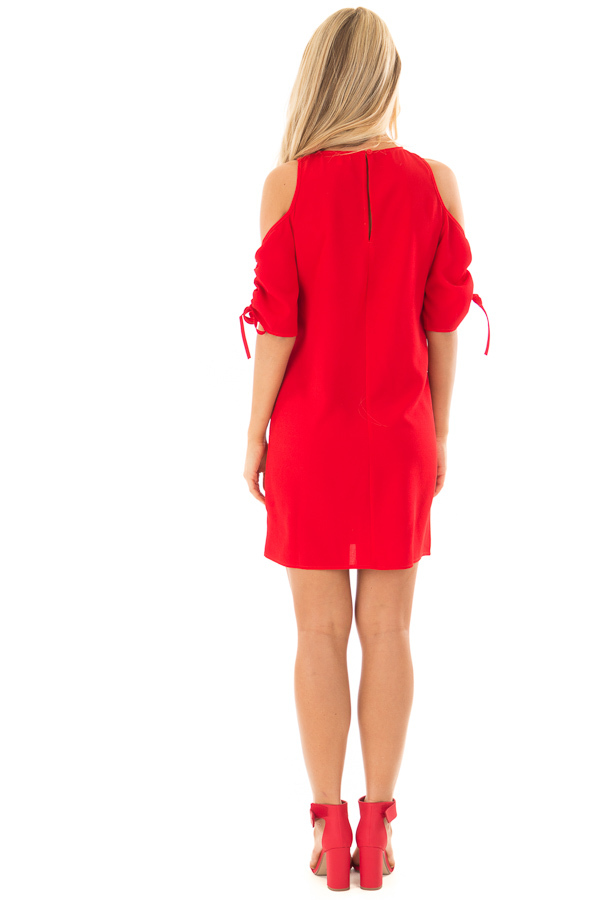 Lipstick Red Cold Shoulder Dress with Ruched Sleeves back full body