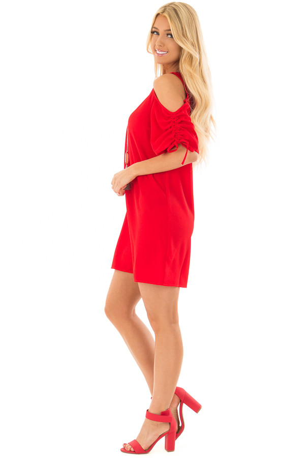 Lipstick Red Cold Shoulder Dress with Ruched Sleeves side full body