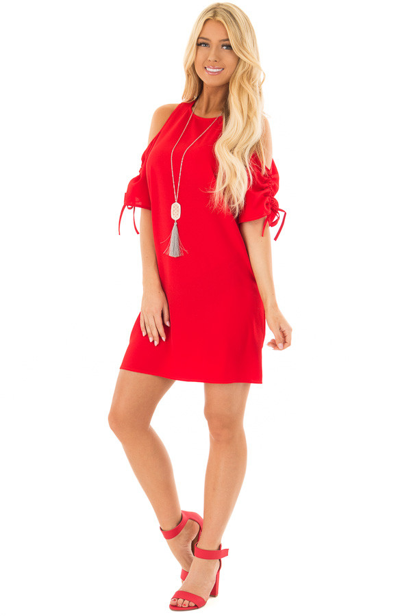 Lipstick Red Cold Shoulder Dress with Ruched Sleeves front full body