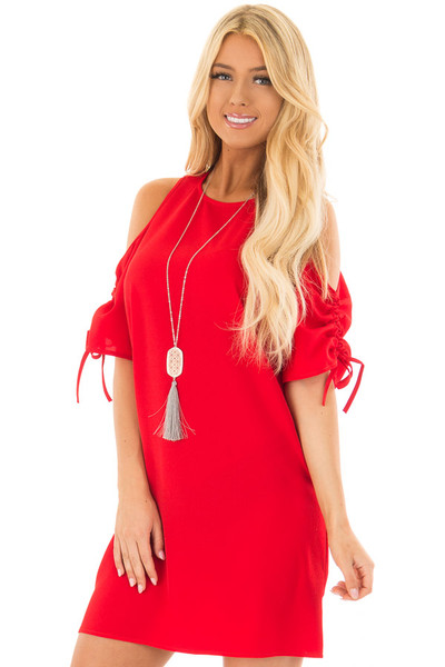 Lipstick Red Cold Shoulder Dress with Ruched Sleeves front close up