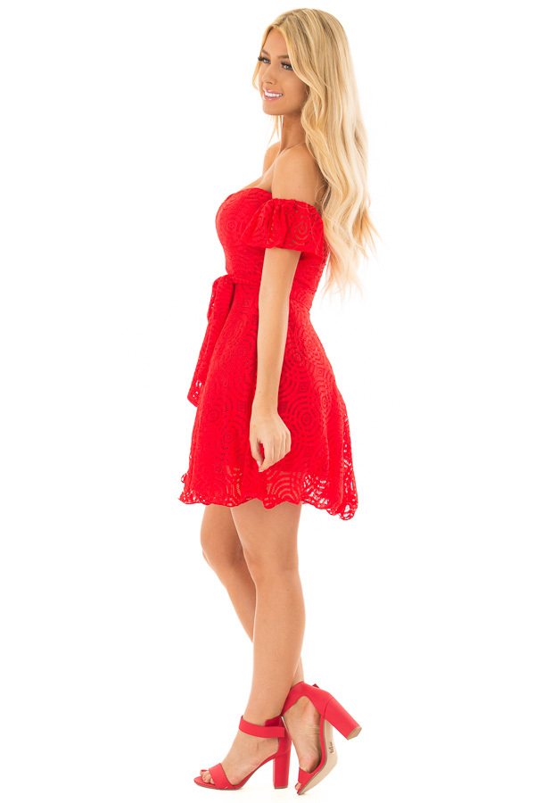Candy Red Off the Shoulder Waist Tie Dress side full body