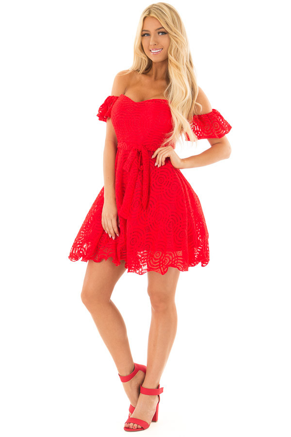 Candy Red Off the Shoulder Waist Tie Dress front full body