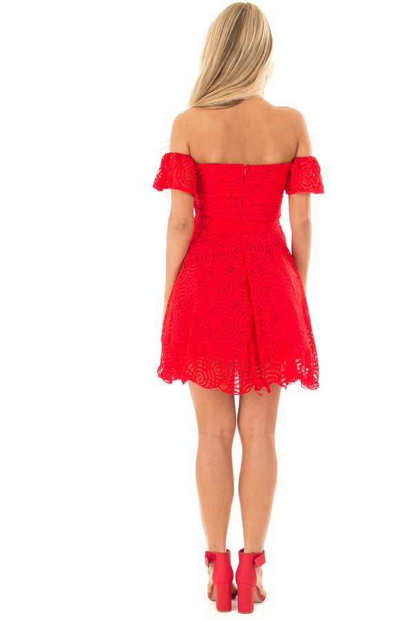 Candy Red Off the Shoulder Waist Tie Dress back full body