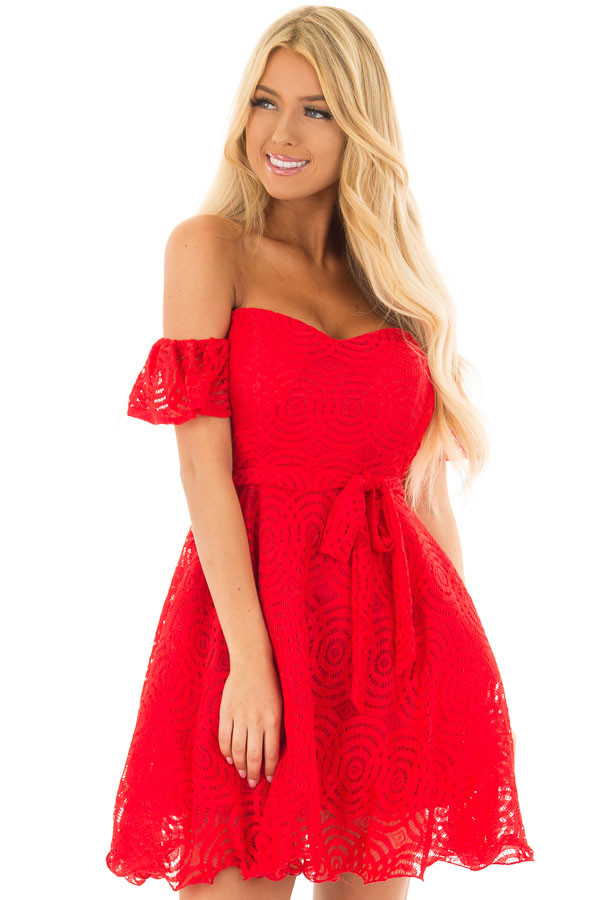 Candy Red Off the Shoulder Waist Tie Dress front close up