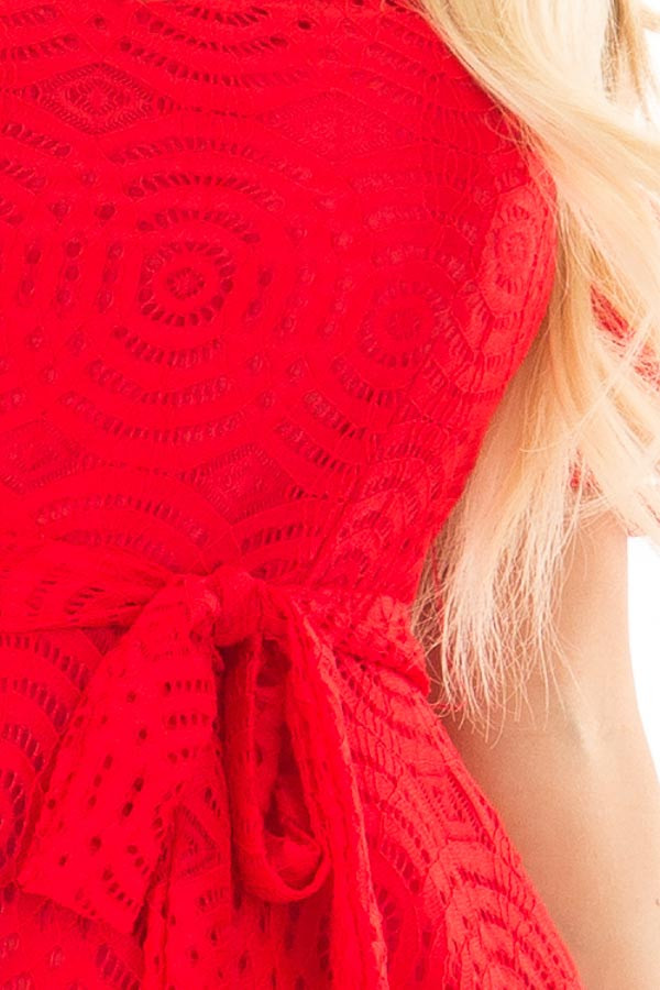 Candy Red Off the Shoulder Waist Tie Dress detail