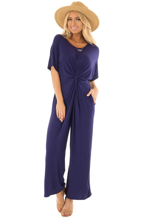Navy Short Sleeve Dolman Twist Jumpsuit with Side Pockets front full body