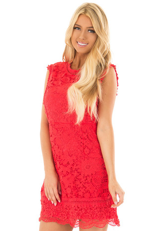 Poppy Red Floral Lace Sheath Dress front close up