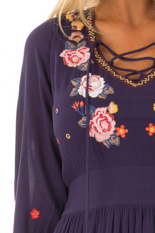 Navy Criss Cross Maxi Dress with Floral Embroidery Detail detail
