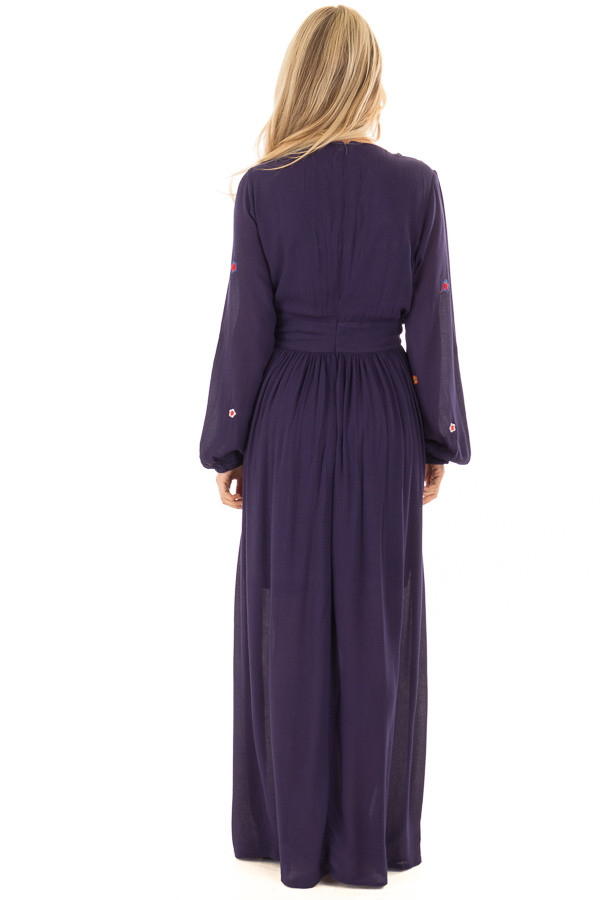Navy Criss Cross Maxi Dress with Floral Embroidery Detail back full body