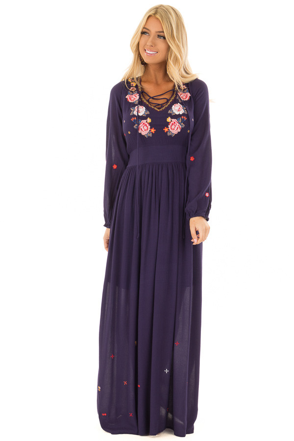 Navy Criss Cross Maxi Dress with Floral Embroidery Detail front full body