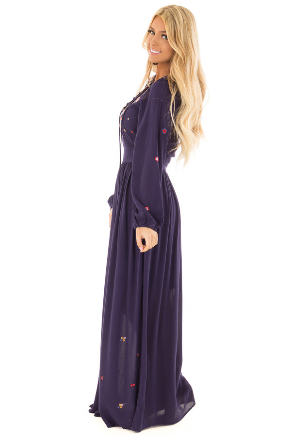 Navy Criss Cross Maxi Dress with Floral Embroidery Detail side full body