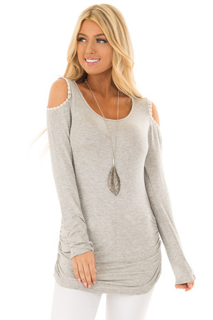 Heather Grey Cold Shoulder Top with Ruched Sides front close up