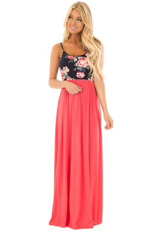 Coral Maxi Dress with Navy Floral Print Contrast front full body