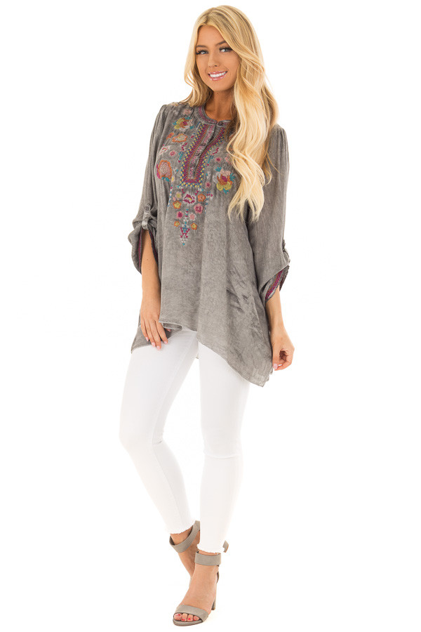 Charcoal Mineral Wash Blouse with Floral Embroidery front full body