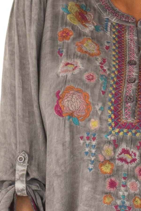 Charcoal Mineral Wash Blouse with Floral Embroidery detail