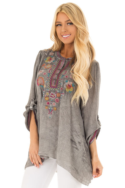 Charcoal Mineral Wash Blouse with Floral Embroidery front close up