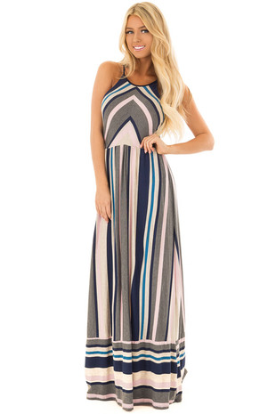 Multi Color Striped Maxi Dress front full body