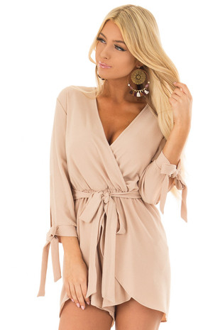 Taupe 3/4 Sleeve Wrap Romper with Tie Details front close up