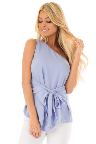 Baby Blue One Shoulder Top with Waist Tie front close up