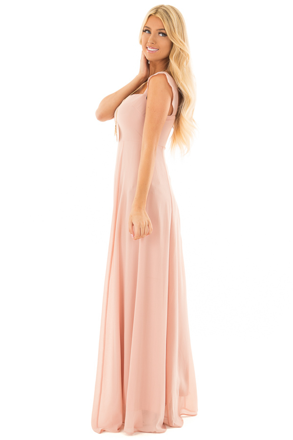 Blush Off the Shoulder Maxi Dress side full body