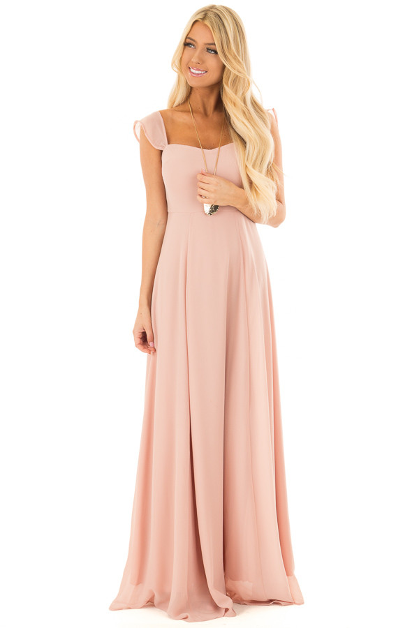 Blush Off the Shoulder Maxi Dress front full body