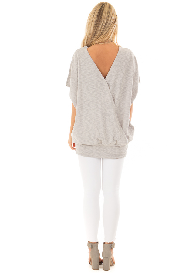 Grey Oversized Textured Top with Back Wrap V Cut Detail back full body