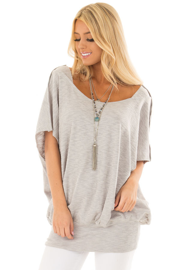 Grey Oversized Textured Top with Back Wrap V Cut Detail front close up