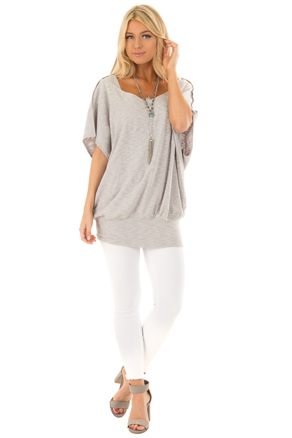 Grey Oversized Textured Top with Back Wrap V Cut Detail front full body