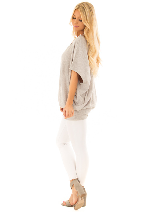 Grey Oversized Textured Top with Back Wrap V Cut Detail side full body
