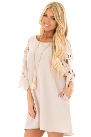 Beige Dress with Sheer Lace Sleeves front close up