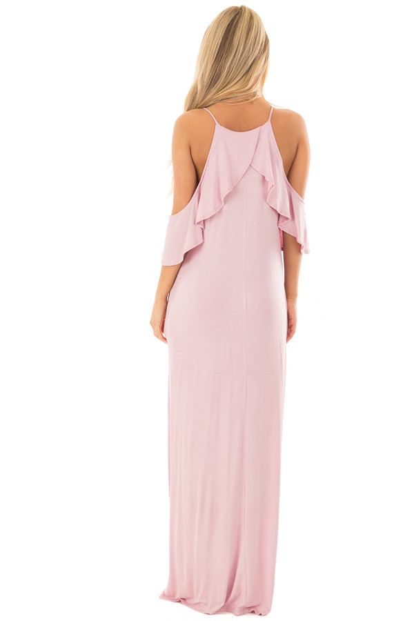Dusty Blush Cold Shoulder and Ruffle Detail Maxi Dress back full body