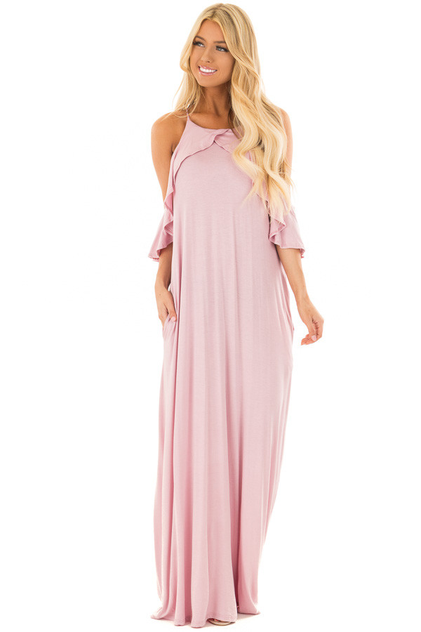 Dusty Blush Cold Shoulder and Ruffle Detail Maxi Dress front full body