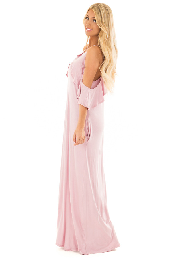 Dusty Blush Cold Shoulder and Ruffle Detail Maxi Dress side full body