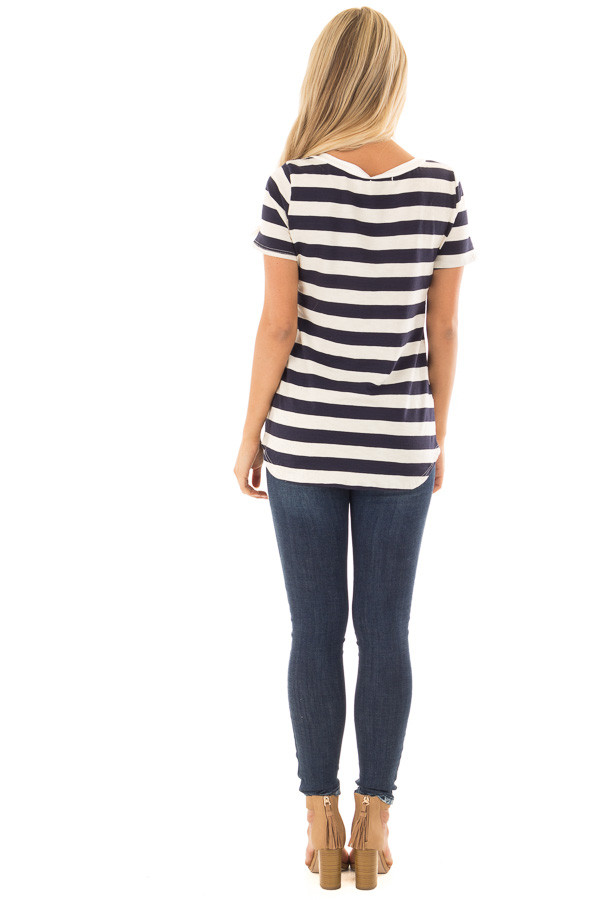 Navy and Cream Striped Top with Lace Up Neckline back full body