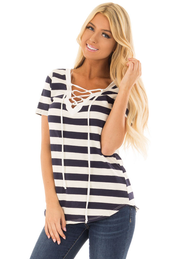 Navy and Cream Striped Top with Lace Up Neckline front close up