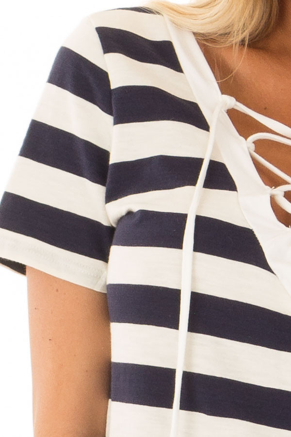 Navy and Cream Striped Top with Lace Up Neckline detail