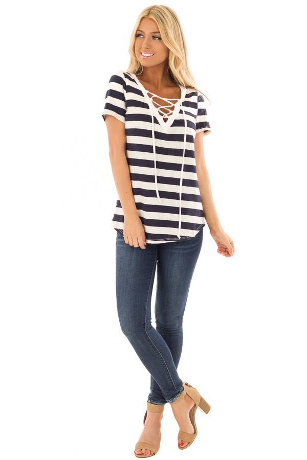 Navy and Cream Striped Top with Lace Up Neckline front full body