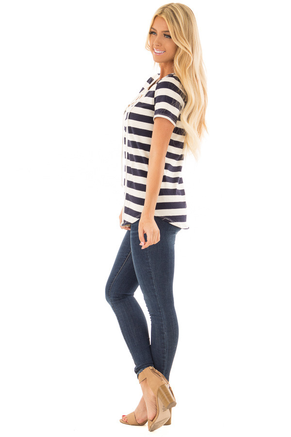 Navy and Cream Striped Top with Lace Up Neckline side full body