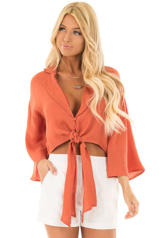 Rust Long Sleeve Blouse with Button and Front Tie Detail front close up