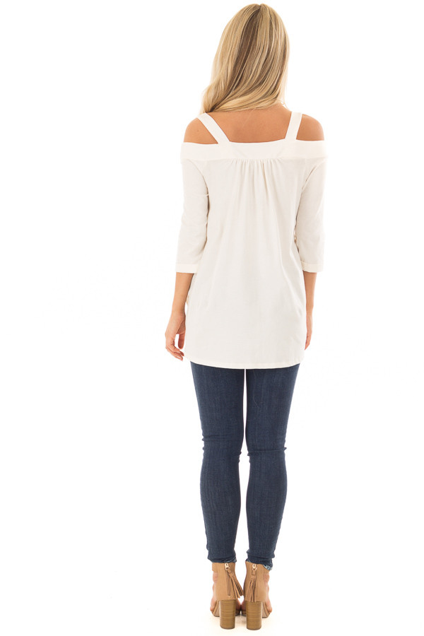Ivory Cold Shoulder Top with 3/4 Sleeves back full body