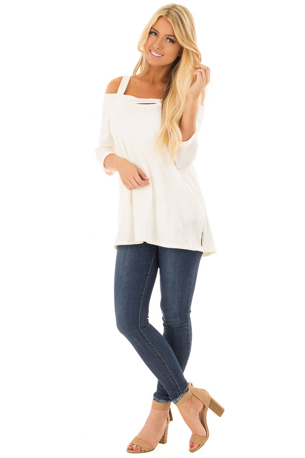 Ivory Cold Shoulder Top with 3/4 Sleeves front full body