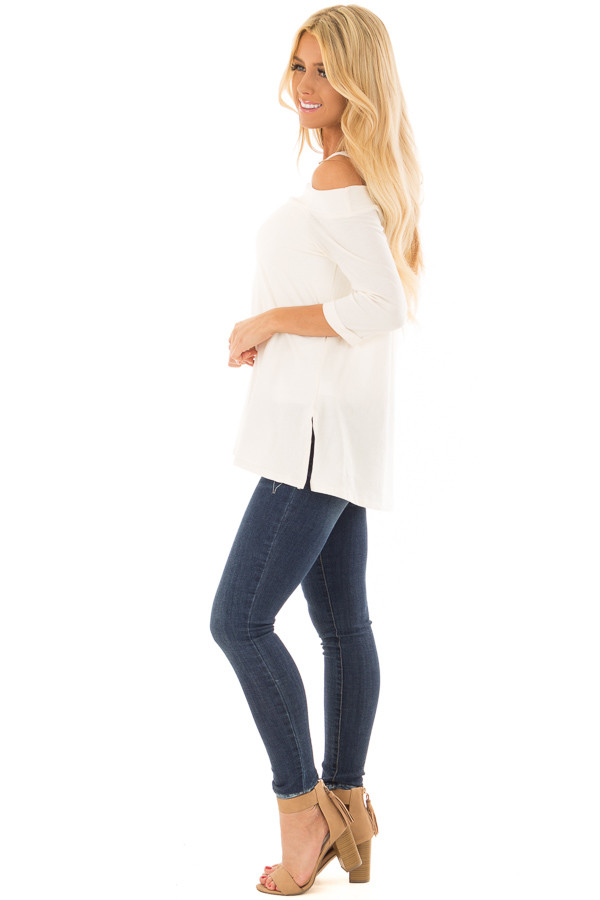 Ivory Cold Shoulder Top with 3/4 Sleeves side full body