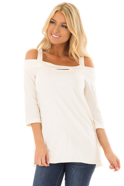 Ivory Cold Shoulder Top with 3/4 Sleeves front closeup