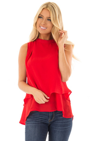 Scarlet Layered Tank Top with Crocheted Trim Detail front closeup