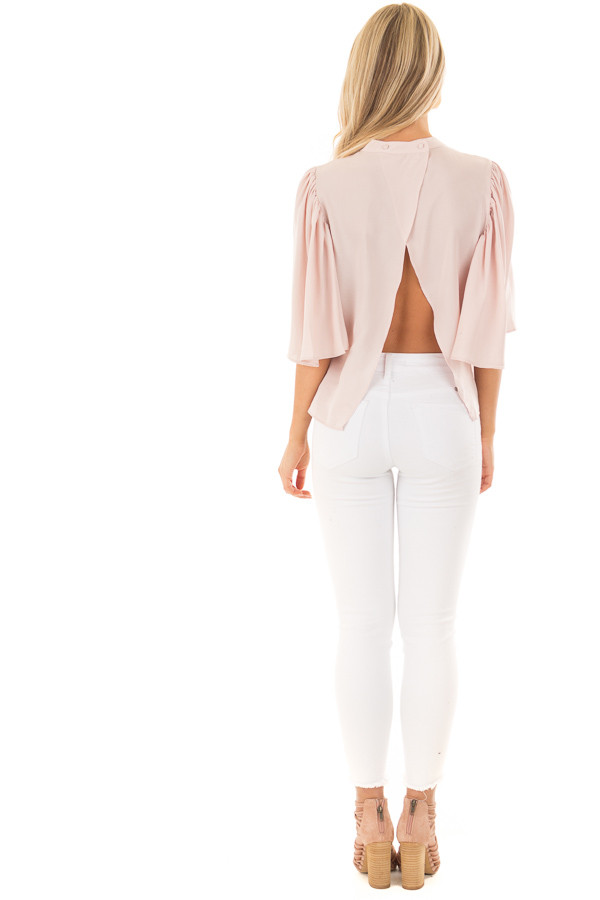 Dusty Pink Bell Sleeve Top with Split Back Detail back full body