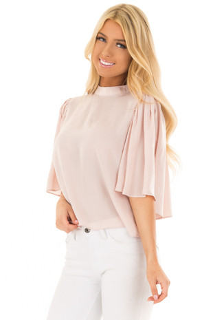 Dusty Pink Bell Sleeve Top with Split Back Detail front closeup