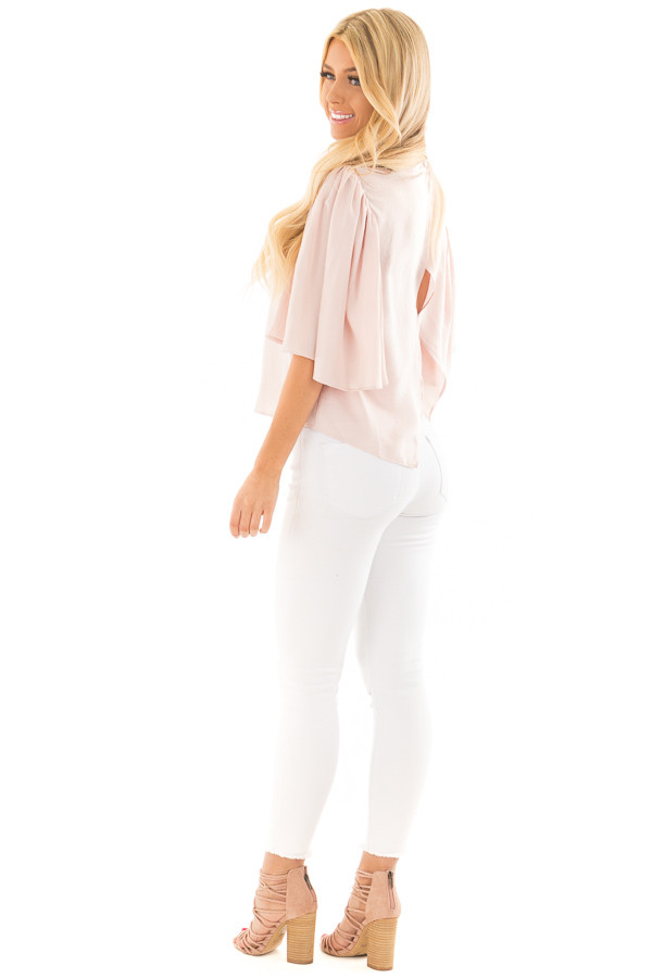 Dusty Pink Bell Sleeve Top with Split Back Detail side full body