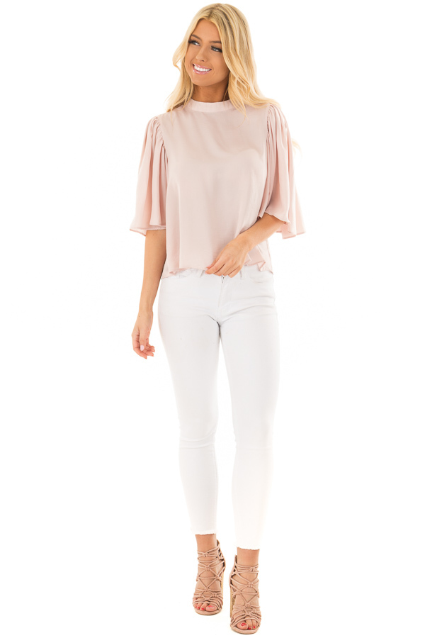 Dusty Pink Bell Sleeve Top with Split Back Detail front full body