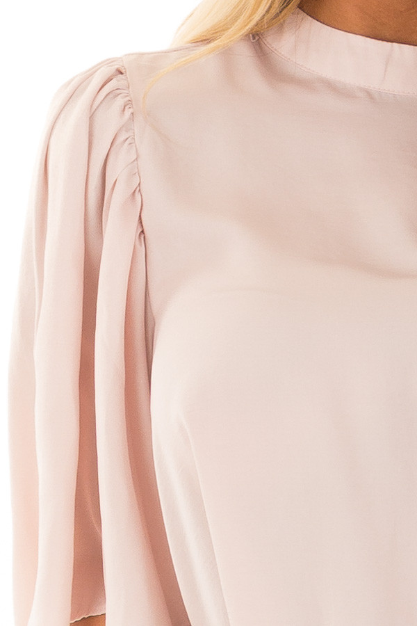 Dusty Pink Bell Sleeve Top with Split Back Detail front detail