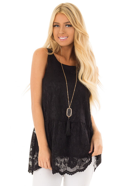 Black Sleeveless Lace Tunic Top front closeup